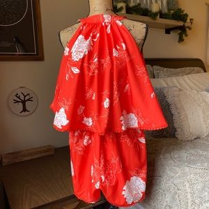 Other - Red Orange Floral Ruffle Romper Size Medium